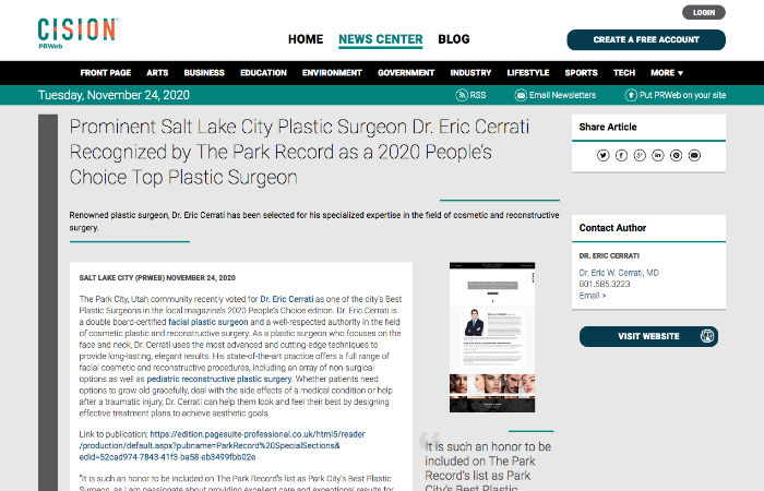 Screenshot of article: Prominent Salt Lake City Plastic Surgeon Dr. Eric Cerrati Recognized by The Park Record as a 2020 People's Choice Top Plastic Surgeon.